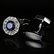New Luxury Shirt Cufflinks for Mens Wedding Gifts Brand Cuff buttons Blue Crystal Cuff links Abotoaduras Silvery Gemelos Jewelry