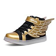 Jongens Sneakers Oplichtende schoenen Herfst Winter Synthetisch Microvezel PU Causaal Magic tape Platte hak Wit Zwart en Gold Plat