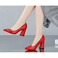 Women's Heels Comfort Basic Pump Spring Summer Real Leather PU Casual White Black Ruby 4in-4 3/4in