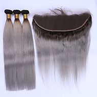 Hår Veft Med Lukker Brasiliansk hår Rett 12 måneder 4 deler hår vever kg Raske hårvever