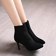 Feminino Sapatos Couro Ecológico Outono Inverno Conforto Saltos Salto Agulha Dedo Apontado Com Para Casual Preto Cinzento Azul