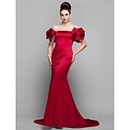 Sereia Cauda Corte Cetim Evento Formal Vestido com Pregas de TS Couture®