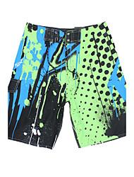 mannen sneldrogende ademend strand zwembroek / bodems printen polyester rood / blauw