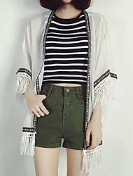 Damen Solide Einfach Lässig/Alltäglich Mantel / Capes,Rundhalsausschnitt Sommer ½ Länge Ärmel Standard Acryl Quaste