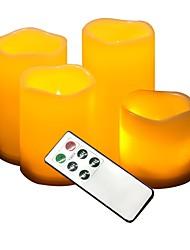 4 stuks buitenspannige kaarsen met afstandsbediening en timer-pijlerkaarsen, weerbestendige waterdichte batterijbediende kaarsen