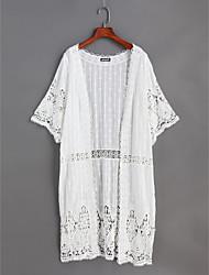Damen Solide Spitze Niedlich Alltag Hemd,V-Ausschnitt Frühling Sommer Spitze Dünn