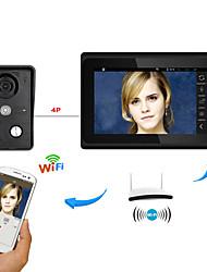 7inch bezdrátový / kabelový wifi ip video dveřní telefon zvonek intercom systém s podporou vzdálené aplikace odemknutí záznamůnapshot