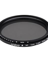 Hloubka 55mm fader neutrální hustota nastavitelná nd2 až nd400 proměnný filtr pro kanon nikon dslr fotoaparát