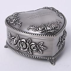 Personalized Vintage Tutania Floral Theme Heart Design Jewelry Box