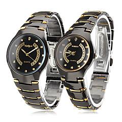 Masculino Mulheres Casal Relógio Elegante Quartzo Aço Inoxidável Banda Preta Dourado-Preto