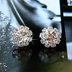 Femme Boucles d'oreille goujon Basique Simple Style Mode bijoux de fantaisie Cristal Zircon Imitation Diamant Alliage Forme de Fleur Spot