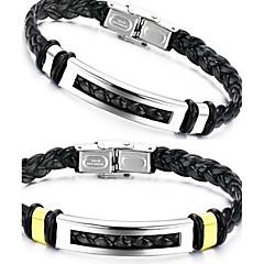 Муж. Кожаные браслеты Уникальный дизайн бижутерия Мода Кожа Титановая сталь Бижутерия Бижутерия Назначение Свадьба Для вечеринок