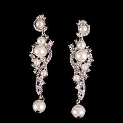 Boucle d'oreille de solitaire Boucle Argent/Perle/Alliage Cristal Femme