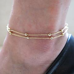 גרבי חוף שרשרת שכבה כפולה נחושת כדור צלחת זהב אופנת נשים