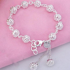 Women's Charm Bracelet Bangles Strand Bracelet Fashion Costume Jewelry Sterling Silver Crystal Ball Jewelry For Party Daily Sports