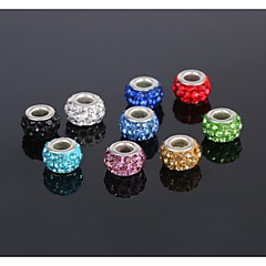 5Pcs Jewelry Silver Bead Charm European Alloy Crystal Bead Fit Necklace Bracelet Earring (send 5 different colors)
