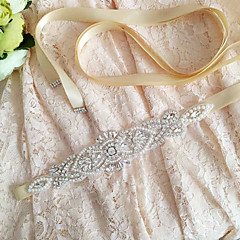 Satin Wedding / Party/ Evening / Dailywear Sash-Sequins / Beading / Pearls / Crystal / Rhinestone Women's 98 ½in(250cm)Sequins / Beading