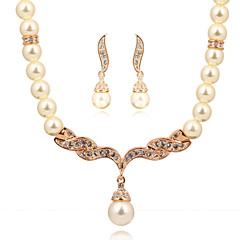 HKTC Party Jewelry Rose Gold Plated Imitation Pearl Strand Earrings and Necklace Set Bridal for Women