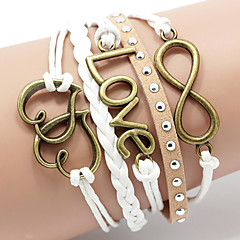 Women's Rivet Leather Bracelet Basic Love Heart Multi Layer Fashion Handmade Costume Jewelry Leather Heart Love Infinity Jewelry For