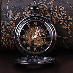 Men's Pocket Watch Mechanical Watch Automatic self-winding Hollow Engraving Alloy Band Luxury Black
