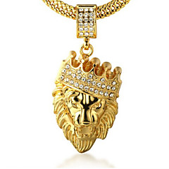 Herre Anheng Halskjede Rhinstein Krone Formet Dyreformet Løve Gylden Fuskediamant 18K gull Legering Klippe Personalisert kostyme smykker