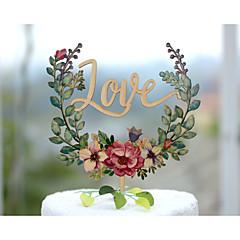 Kakepynt Ikke-personalisert Klassisk Par Akryl Krom Gummi Bryllup Jubileum Utdrikkingslag GulHage Tema Blomster Tema Klassisk Tema