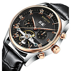 KINYUED® Men's Leather Band Automatic self-winding Calendar Water Proof Mechanical Watch Gift Fashion Wrist Watch(Include Package)