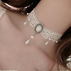 Dame Choker Halskjede Imitert Perle Blomsterformet Imitert Perle Blonde Tatovering Hengende Blomstret Smykker Til Bryllup Fest Spesiell