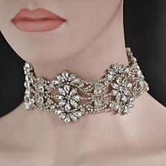 בגדי ריקוד נשים שרשראות מחרוזת תכשיטים Cross Shape אבן נוצצת סגסוגת עיצוב מעוגל תכשיטים ל חתונה Party ארוסים יומי 1pc