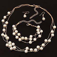 Dame Tråder Halskjeder Rhinstein Perle Legering Enkelt design Gull Sølv Smykker Til Bryllup Fest Engasjement Daglig 1 Sett
