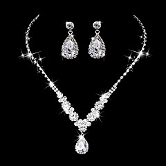 Women's Drop Earrings Choker Necklaces Bridal Jewelry Sets Rhinestone AAA Cubic Zirconia Vintage Luxury Elegant Jewelry For Wedding Party Engagement