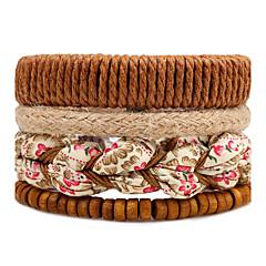 Pánské Dámské Strand Náramky Wrap Náramky Módní Bohemia Style Nastavitelná Multi-způsoby Wear DIY Dřevo Round Shape Flower Shape Šperky