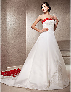 A-Line Princess Strapless Cathedral Train Satin Wedding Dress with Appliques Embroidered by LAN TING BRIDE®