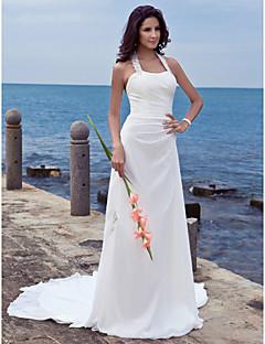 Футляр Хальтер Со шлейфом средней длины Шифон Свадебное платье с Аппликации от LAN TING BRIDE®