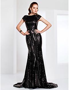 トランペット/マーメイド バトーネック スイープ/ブラシトレーン スパンコール フォーマルイブニング ダンスパーティー フォーマルパーティー ドレス とともに スパンコール 〜によって TS Couture®