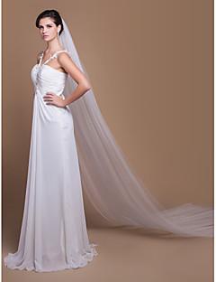 Véus de Noiva Duas Camadas Véu Catedral Corte da borda 129,92 em (330 centímetros) Tule Branco MarfimLinha-A, Vestido de Baile, Princesa,