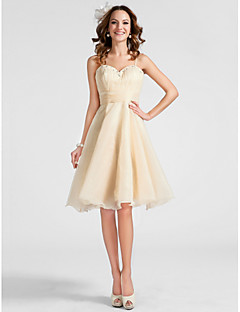 a-line princessスパゲッティストラップ甘い膝の長さオーガンザホームカミングprom dress with beading tscouture®