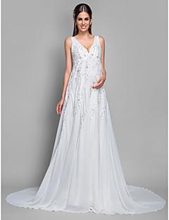 Linha A Decote V Cauda Corte Chiffon Renda Vestido de casamento com Lantejoulas Apliques de LAN TING BRIDE®