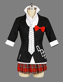 Inspireret af Dangan Ronpa Junko Enoshima video Spil Cosplay Kostumer Cosplay Suits / Skoleuniformer Patchwork Sort Kort ÆrmeJakke /
