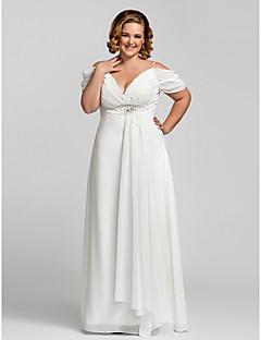Schede / kolom spaghettibandjes vloerlengte chiffon prom jurk met kralen door ts couture®