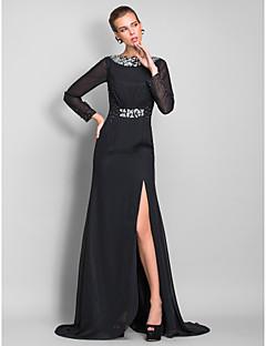 シース/コラムバトーの首の床の長さシフォンイブニングドレスとビーズtscouture®