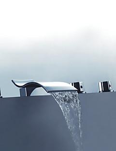 コンテンポラリー バスタブとシャワー ハンドシャワーは含まれている with  セラミックバルブ 五つ 3つのハンドル5つの穴 for  クロム , シャワー水栓 浴槽用水栓