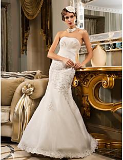 Sereia Sem Alças Longo Chiffon Organza Vestido de casamento com Miçangas Apliques Drapeado Lateral de LAN TING BRIDE®