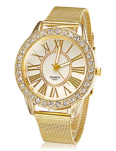 לנשים שעוני שמלה שעוני אופנה שעון יד קווארץ אבן נוצצת חיקוי יהלום סגסוגת להקה מדבקות עם נצנצים פרח זהב זהב לבן שחור