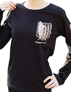 Innoittamana Attack on Titan Mikasa Ackermann Anime Cosplay-asut Cosplay hupparit Painettu Pitkähihainen T-paita Käyttötarkoitus Naiset