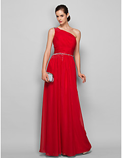 Sheath / Column One Shoulder Floor Length Chiffon Prom Formal Evening Military Ball Dress with Beading Side Draping by TS Couture®