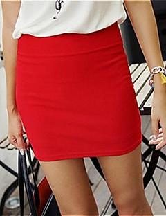 Damen Einfach Arbeit Mini Röcke Stifte einfarbig Ganzjährig