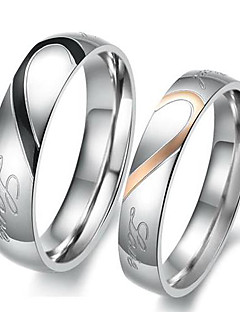 Kadın's Çift Yüzükleri Nişan yüzüğü Aşk Gelin Paslanmaz Çelik Heart Shape Mücevher Uyumluluk Düğün Parti Doğumgünü Nişan Günlük