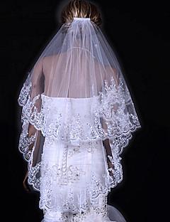 Véus de Noiva Duas Camadas Véu Ponta dos Dedos Borda com aplicação de Renda 31,5 cm (80cm) Tule Branco MarfimLinha-A, Vestido de Baile,