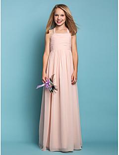 Sütun Boyundan Bağlamalı Yere Kadar Şifon Çocuk Nedime Elbisesi ile Dantelalar tarafından LAN TING BRIDE®